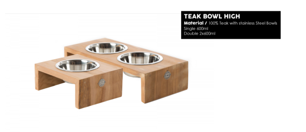 51DN Dinner Bowl Teak High Doppel-Futterstation