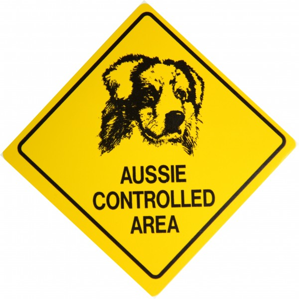Australian Shepherd Aufkleber - Aussie Controlled Area