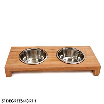 51DN Dinner Bowl Teak Doppel-Futterstation